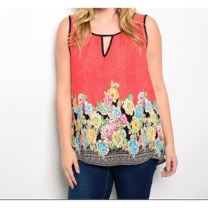 Tops - Red Floral Plus Size Top